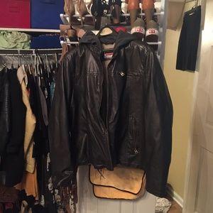 Levi's Moto Fleece Coat w/ Hood Black (M)